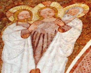 early medieval fresco of Trinity